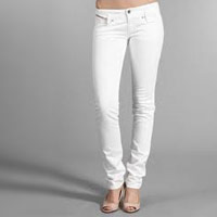 some skinny white jeans