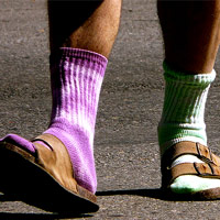 Mis-matched socks with sandals