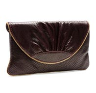 Ava Wine Textured Snake clutch