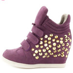 Studded Purple Wedge Sneakers