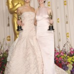 Anne Hathaway in Prada light pink column gown and Jennifer Lawrence in blush Dior Haute Couture.