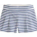 J. CREW PLEATED SHORT IN NAUTICAL STRIPE
