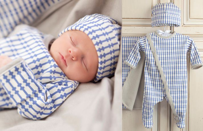 Organic Newborn 3-Piece Layette Set, designed to snuggle your baby with a full-length zippered footed one-piece, a fitted hat, and a swaddling blanket.