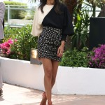 Zoe Saldana Polka Dots and Red Pumps