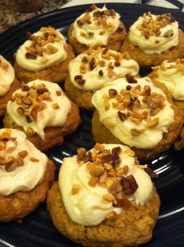 Pumpkin Oatmeal Cookies with Cream Cheese Frosting + Chopped Nuts (Plus A Gluten-Free Variation!)