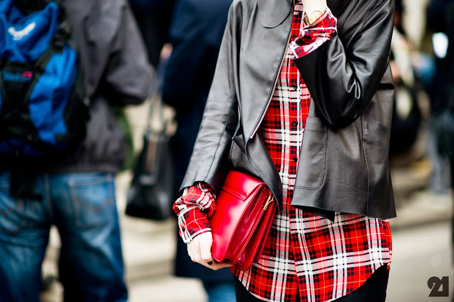 Plaid Shirt With Leather Blazer and Red Clutch