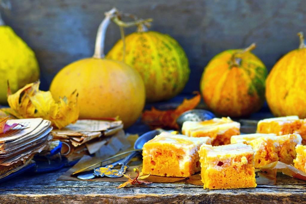 pumpkin pie about cream cheese on an autumn background