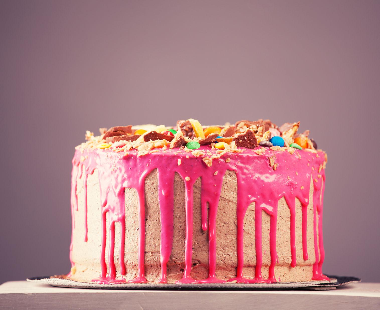 45284084 - beautiful big pink cake. birthday cake